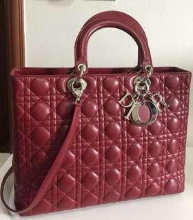 Christian Dior red lamb skin  bag ( large size )