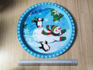 Christmas Large Metal Tray - Blue Snowman