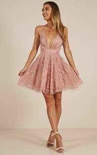 Showpo Moon Beam Dress In Blush Size 8