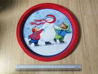 Christmas Large Metal Tray - Red Snowman
