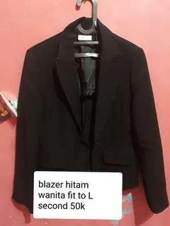 Blazer hitam wanita free pashmina