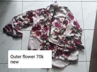 Outer flower free pashmina murah