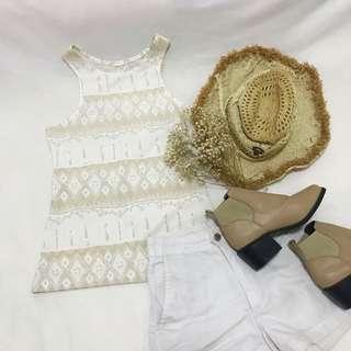 White And Khaki Gold Boho Top