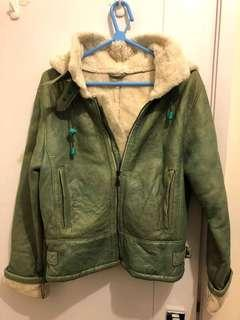 Vintage grass green real leather jacket