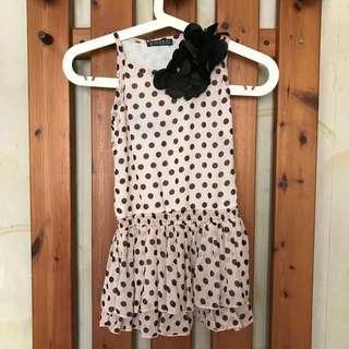 Pink & Black Polkadot Drop Waist Dress