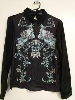 Skulls and floral black silk collared blouse