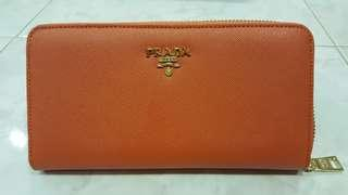 Prada Orange Saffiano Leather Zip Long Wallet