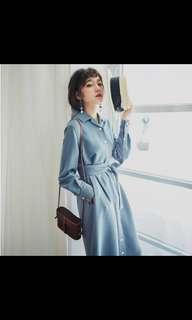 Pinkoi AnneChen白色車縫線襯衫洋裝#L號