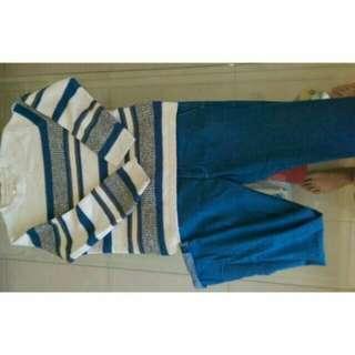 🚚 Fifty Percent 50% 白藍針織衫&藍色褲子