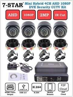 CCTV 4CH SYSTEM PACKAGE-4CH Hybrid DVR/NVR/XVR + 4 Full-HD 2.0MP SONY 1080P Dome/Bullet (Indoor/Outdoor) SMD LEDS IR Day & Night Security CCTV 2.8mm Wide-Angle Camera (APP:XMEYE for PC - IOS - ANDROID) 7-STAR*