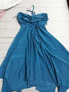 Blue Dinner Dress Open Back