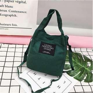 🚚 INSTOCK Korean Ulzzang Women Ladies Casual Canvas Mini Bucket Bag Shoulder Sling Travel Bag GREEN