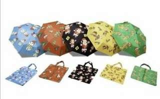 NEW Christmas Umbrellas with Tote Carrier Bag