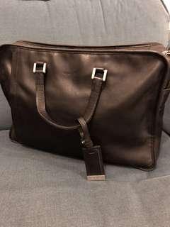 Agnes b 純黑真皮公事包 real leather black brief case