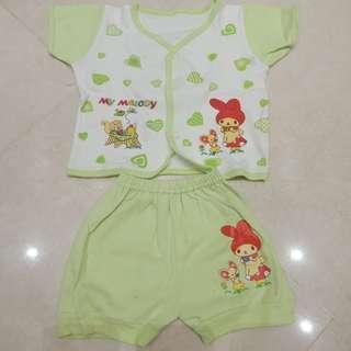 New! stok 1 Setelan Bayi Kaos katun Melody hijau