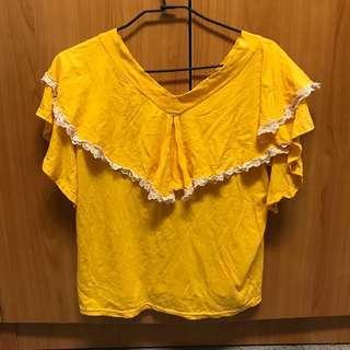 🚚 出清 正韓 近全新 亮黃色 V領 滾 蕾絲 造型荷葉 短袖上衣