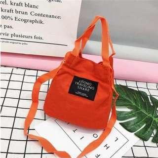 🚚 INSTOCK Korean Ulzzang Women Ladies Casual Canvas Mini Bucket Bag Shoulder Sling Travel Bag ORANGE