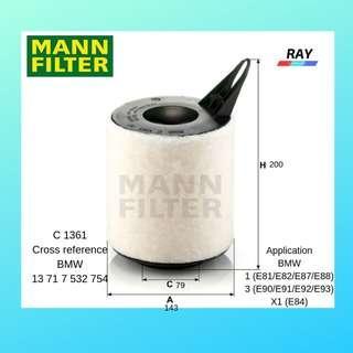 MANN AIR FILTER C1361,C 1361 , BMW 1 (E81/E82/E87/E88) 3 (E90/E91/E92/E93) X1 (E84)
