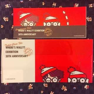 Wally Memo Pad & Wally File (Ticket size) 🔍日本製🇯🇵展覽館限定商品 Wally Stationery Set~ Where's Wally 30周年Exhibition🔍~ Red