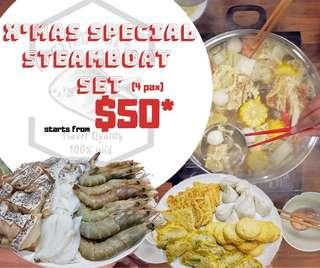 🚚 🔥Selling Hot🔥Fuss- free Fresh Seafood All-in-one Steamboat Set for 4 pax
