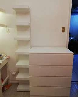 Malm chest of 4 and lack vertical shelf