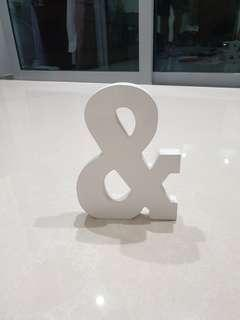 """Wooden 3D letter """"&"""" for wedding or birthday deco"""
