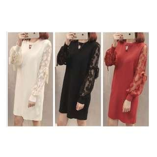 🚚 Pre-Order/ CNY Dress/ Long Sleeves /Sheer/ Size : XL to 3XL