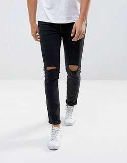 Authentic pre loved Mango black ripped jeans