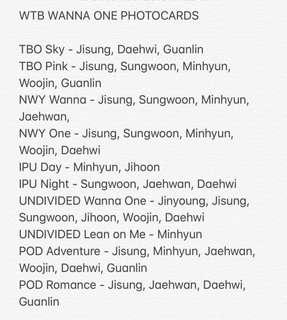 WTB Wanna One PC (update)