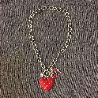 全新❤️心心粗頸鏈連閃石 Necklace with Red Hearts and stone
