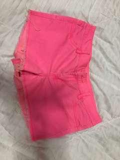 H&M neon pink shorts