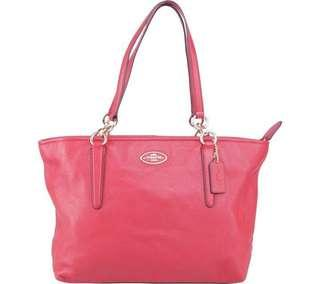 Coach Red Ellis Pebbled Leather Tote Bag