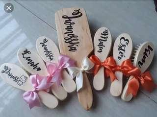 Personalized Paddle wooden hair brush for souvenir or gift
