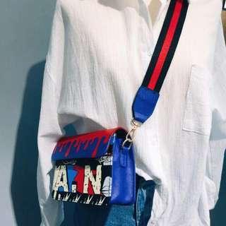Street Graffiti pronted wide stripe strap bag shoulder bag