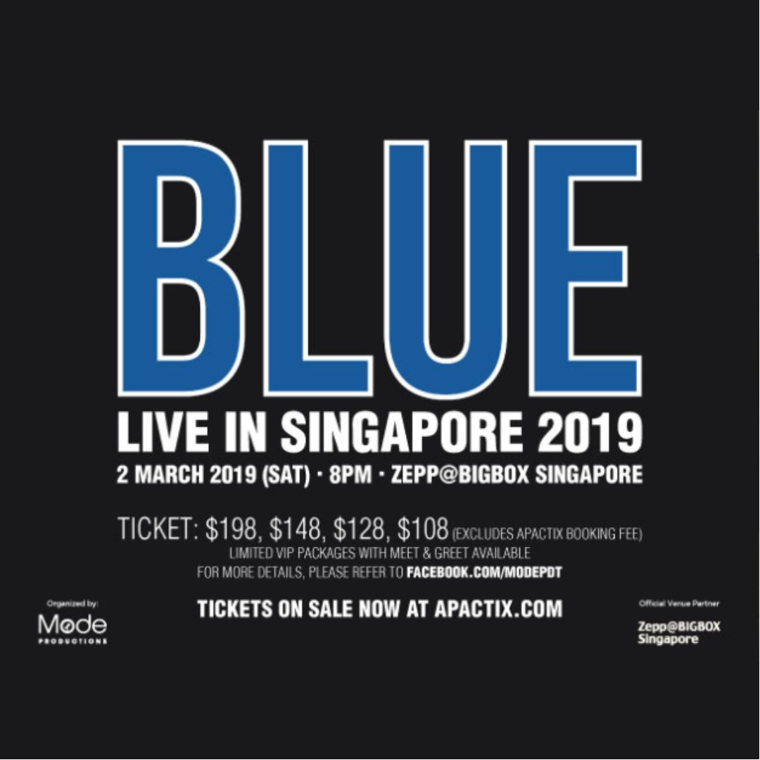 2x VIP FRONT-ROW Tickets for BLUE + PHOTO-TAKING