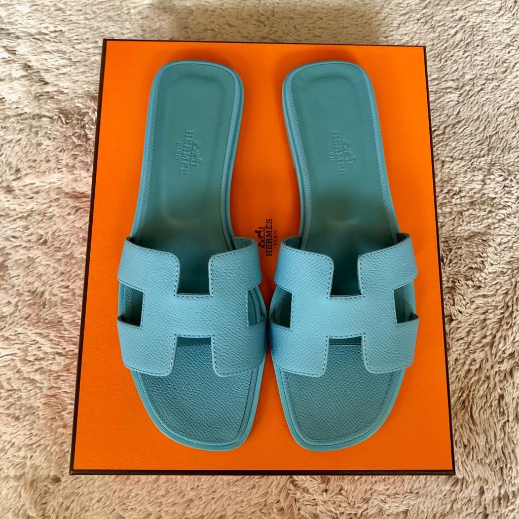6baa6368bbed 💯% Authentic Brand New Hermes Oran Sandals Blue Littoral Sz38 ...