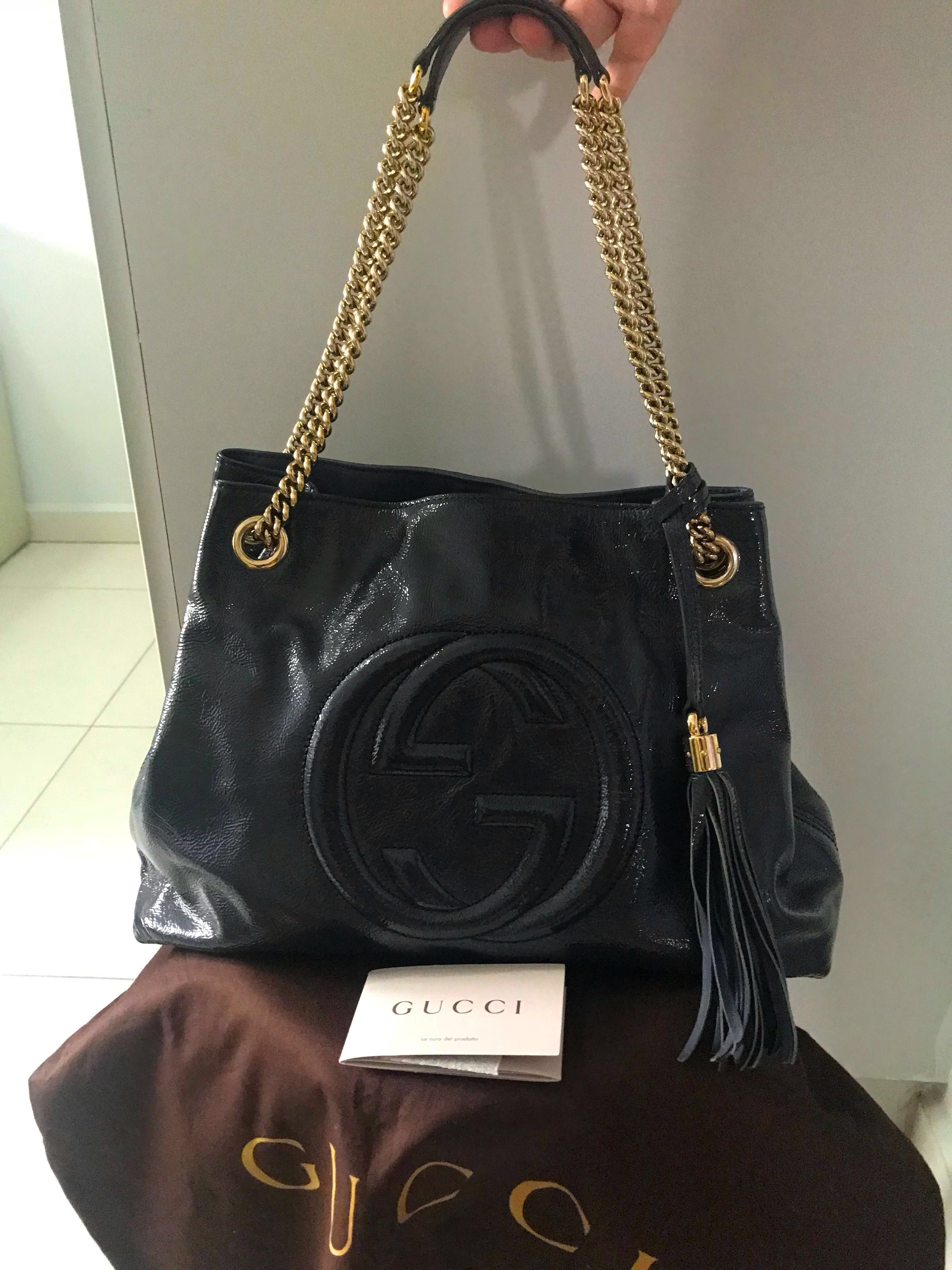 d8987fdec6f88 Authentic Gucci Soho Patent Leather Tote Bag
