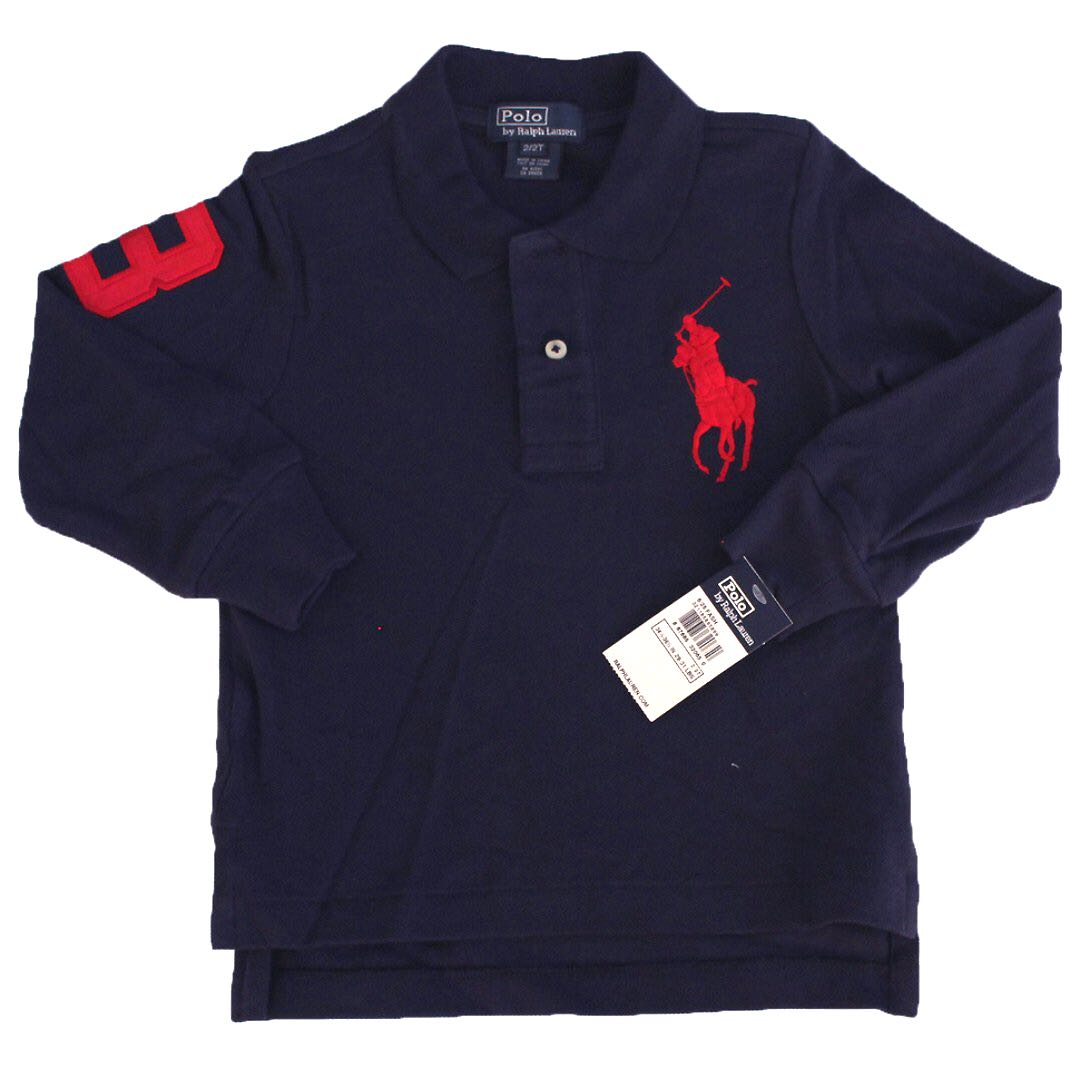 84185a5a AUTHENTIC Ralph Lauren Baby Boy Kid Cotton Big Pony Polo Long Sleeve Shirt  NAVY BLUE Size 9M 12M 3/3T 4/4T 5 6