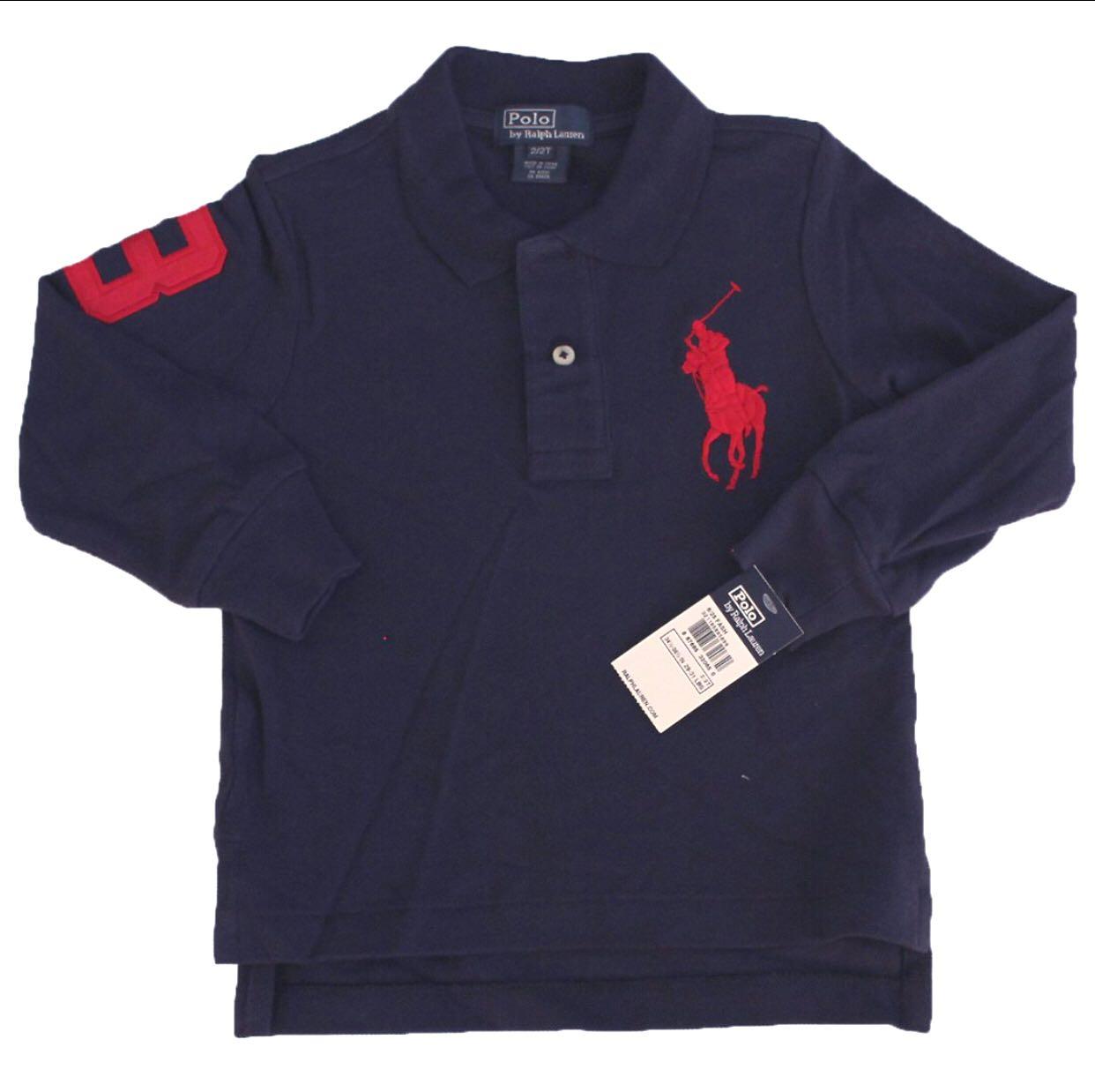 303ade97bd392 Authentic Ralph Lauren Baby Boy Kid Cotton Bog Pony Polo Long Sleeve ...