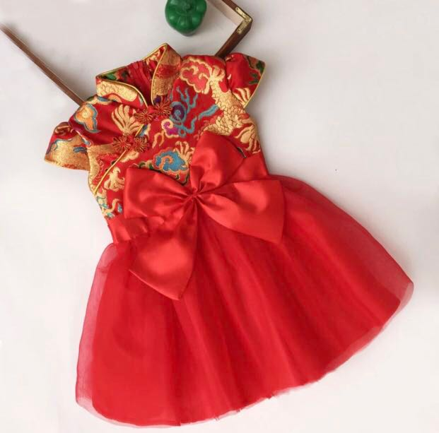 Bn Red Chinese New Year Tutu Dress Babies Kids Girls Apparel 1 To 3 Years On Carousell