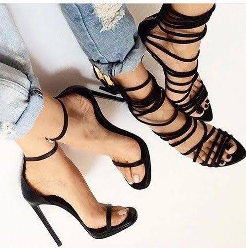 Boohoo Black Strappy Heels