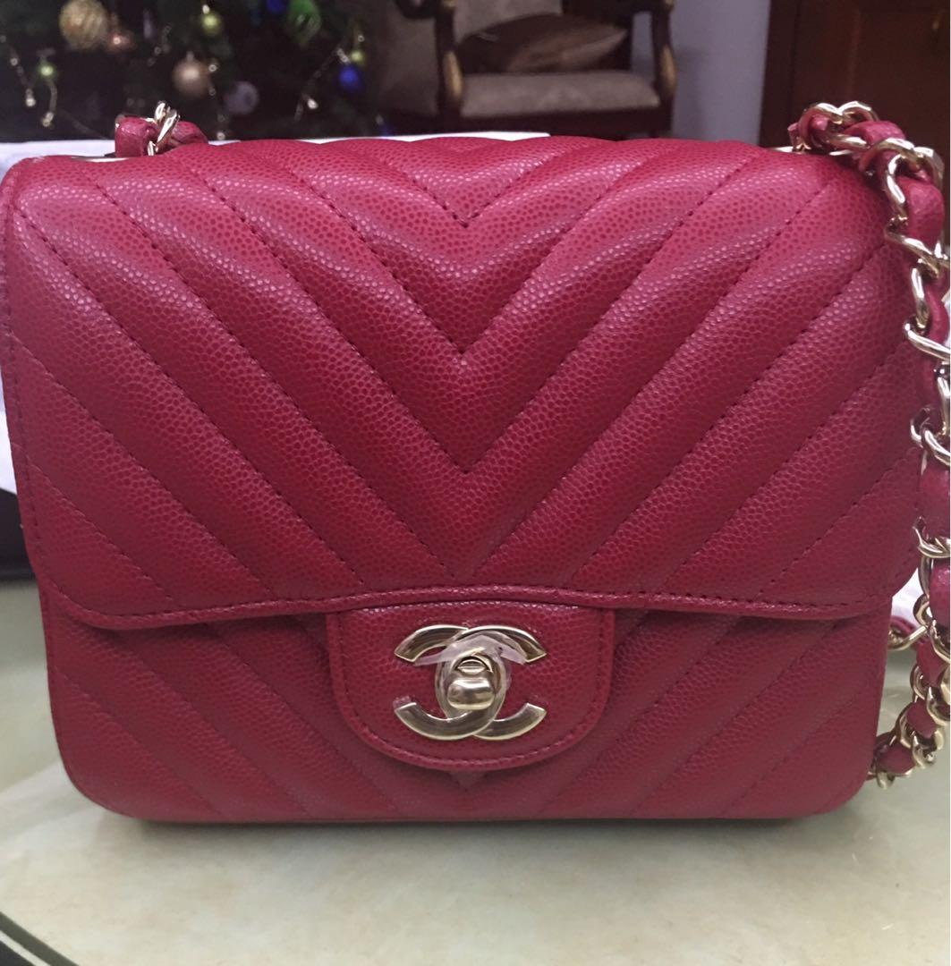 c3d0a138041 Chanel 18B mini square, Luxury, Bags & Wallets, Handbags on Carousell