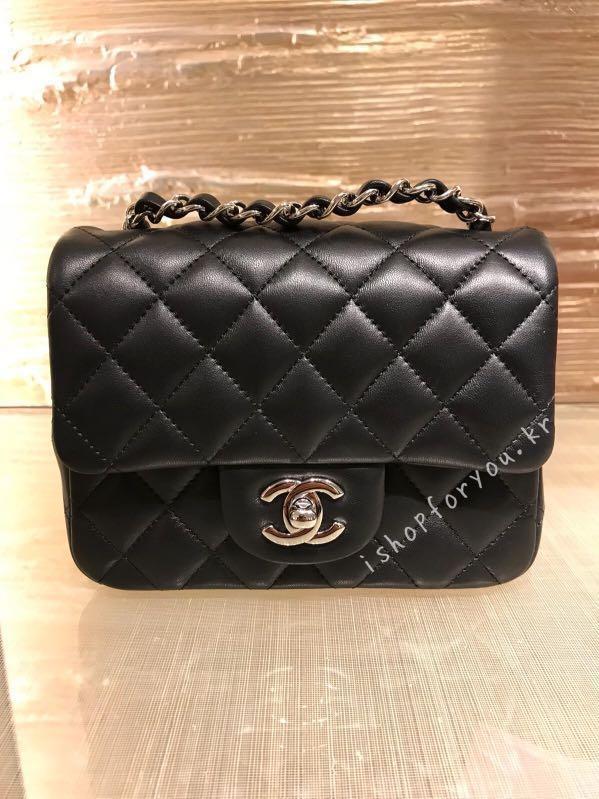 40d2b7ece013 Chanel mini square classic 17cm 黑色銀扣羊皮silver hardware 訂 ...