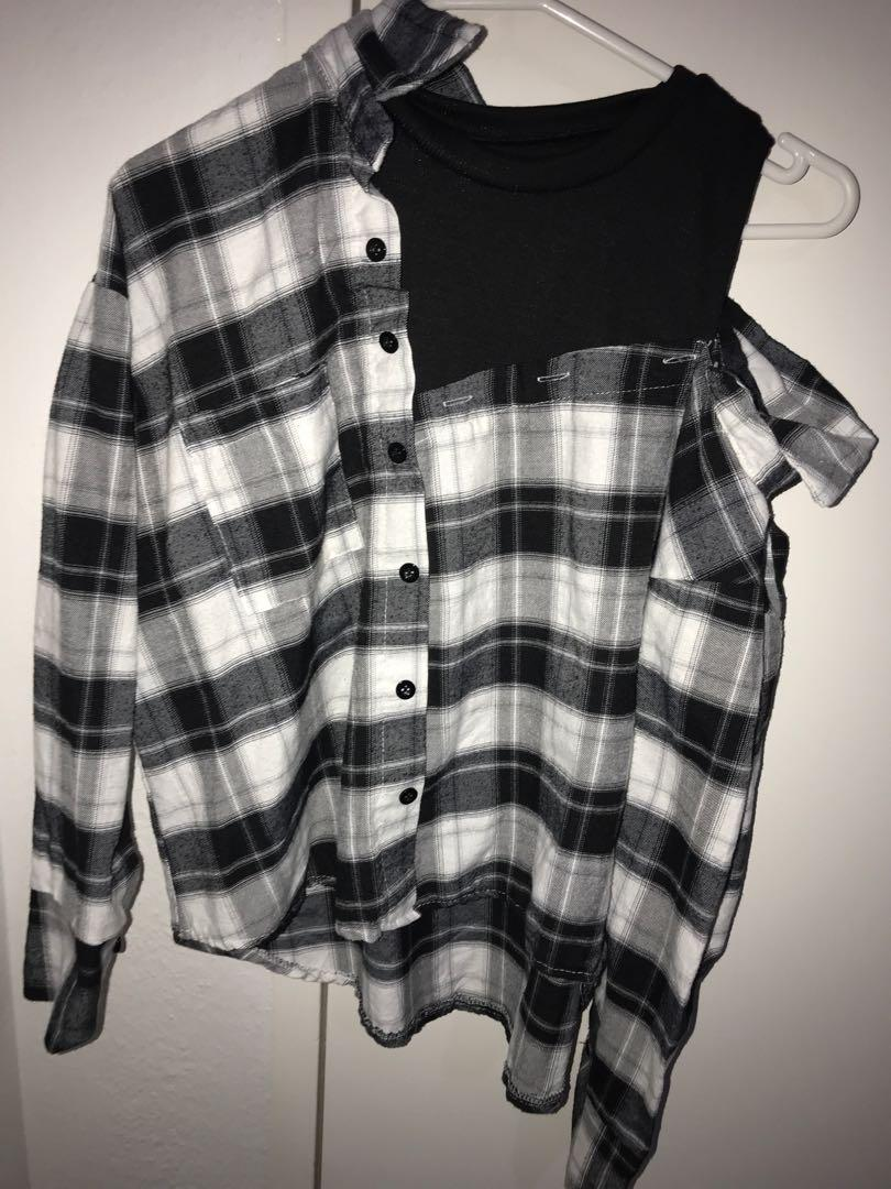Checkered flannel top