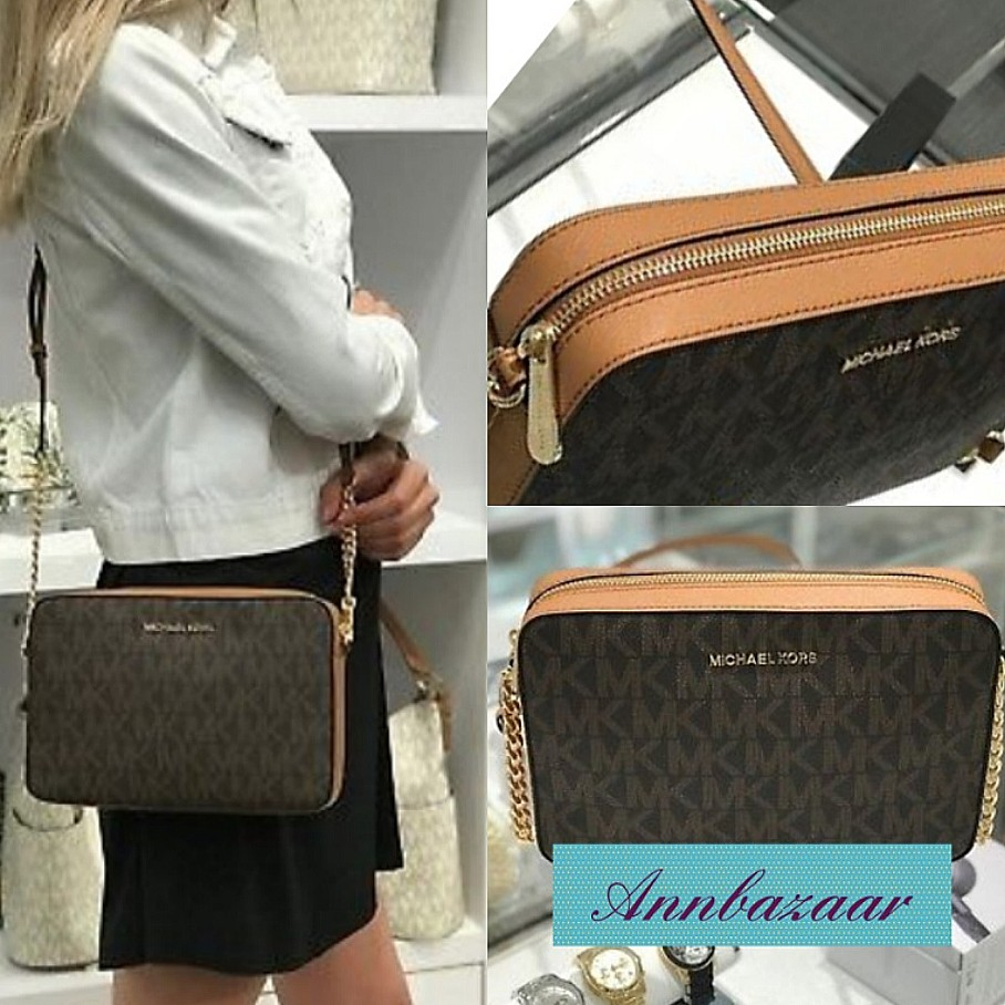 49905bea1667 Michael Kors Jet Set Crossbody Bag- Monogram (100% Authentic), Women's  Fashion, Bags & Wallets, Sling Bags on Carousell