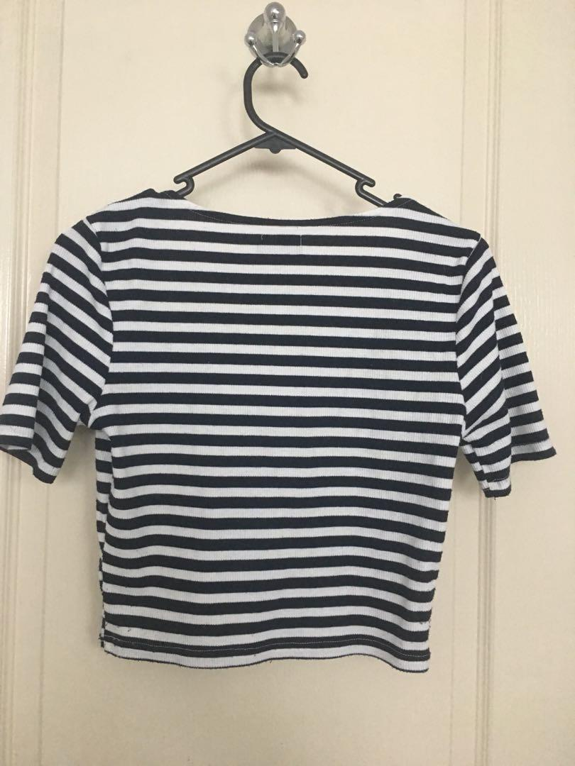 Crop ribbed stripe top