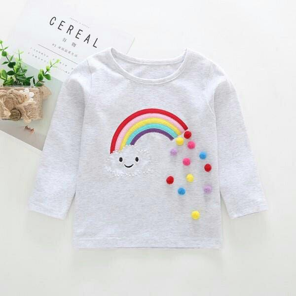 3e65f2e40 Cute Rainbow and Cloud Embroider Long sleeve Tee for Baby and ...