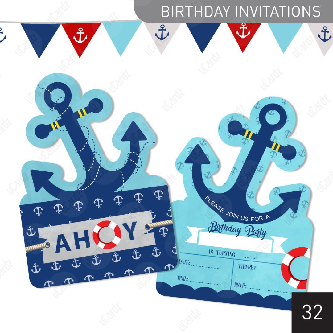D32 Boys Nautical Theme Birthday Invitation Cards Design Craft