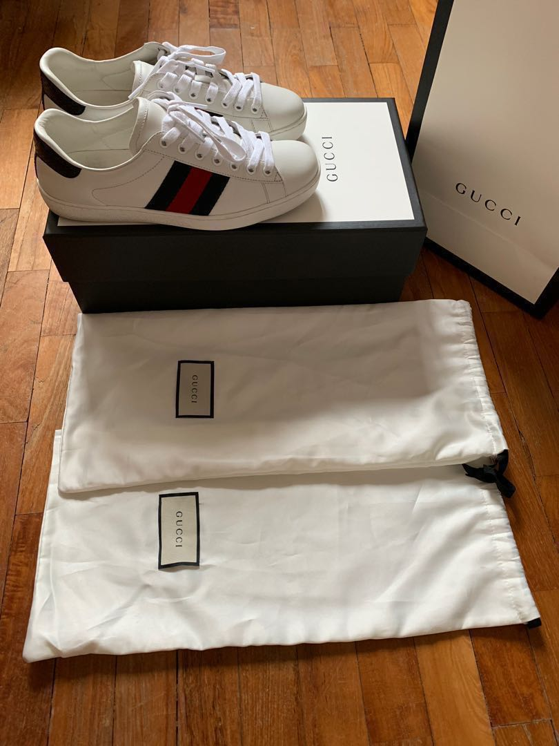 94d1c02c5 GUCCI Ace leather trainers ( Blue Red ) 39.5 Gucci Size, Luxury ...