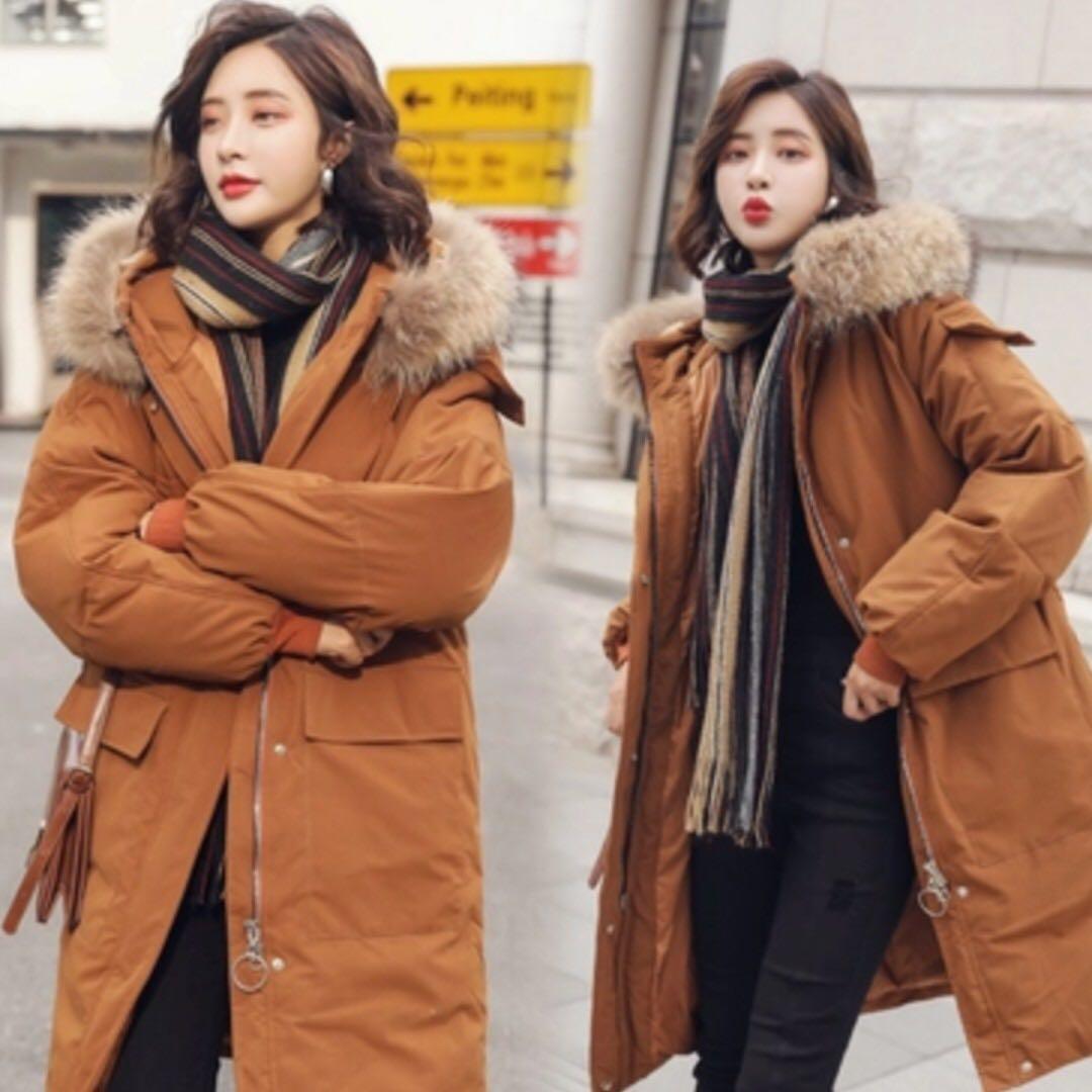 Korean Style Winter Coat (with fur hood)